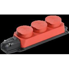 РБ33-1-0м Розетка трехместная ОМЕГА IP44 красная