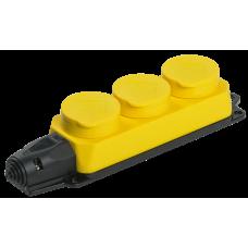 РБ33-1-0м Розетка трехместная ОМЕГА IP44 жёлтая