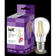 Лампа LED A60 шар прозр. 7Вт 230В 4000К E27 серия 360°