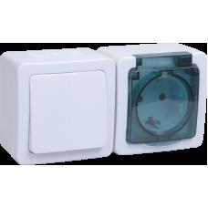 "БГб-22-31-ГПБд блок ""выкл 1кл + розетка 1м с з/к"" о/у IP54 ГЕРМЕС PLUS (кл.бел./кр.дым.)"