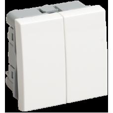 ВК1-22-00-П Выключатель двухклавишный (на 2 модуля) ПРАЙМЕР белый