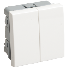 ВК4-22-00-П Выключатель проходной (переключатель) двухклавишный (на 2 модуля) ПРАЙМЕР белый